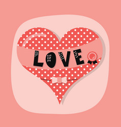 Cute spotty and dotted love heart emblem vector