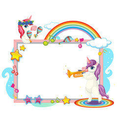 cute unicorn with blank banner music theme vector image