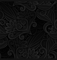 dark seamless pattern with floral ornament vector image