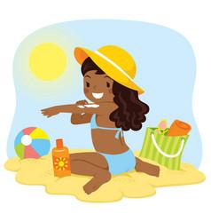 Dark skinned girl putting on sunscreen vector