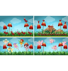 Different insects in the garden vector image
