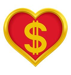 Dollar heart vector image
