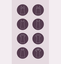 dress fashion icon with sleeves and straps vector image