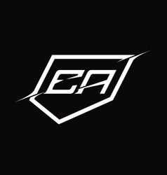 Ea logo monogram letter with shield and slice vector