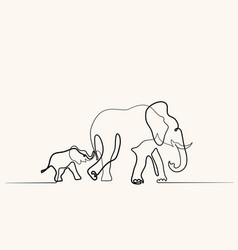 elephant mom with bawalking symbol vector image
