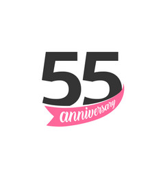Fifty fifth anniversary logo number 55 vector