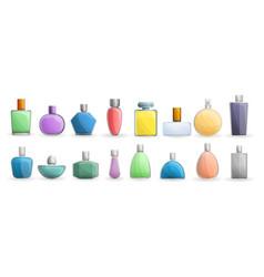 Fragrance bottles icon set cartoon style vector