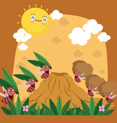 Funny colony ants carrying food anthill bugs vector