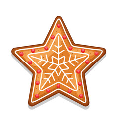 Gingerbread cookies star of merry vector