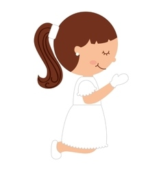 Girl first communion icon vector