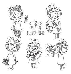 Girls and flowers vector