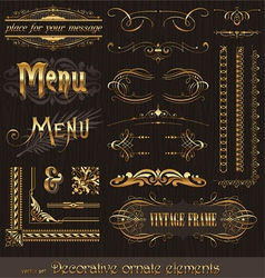 golden design elements and page decor vector image vector image