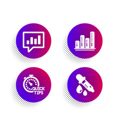 Graph chart quick tips and analytical chat icons vector