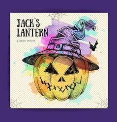 Halloween hand drawing pumpkin jack lantern vector