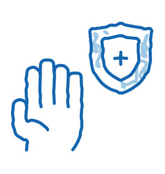 Hand shield with cross doodle icon drawn vector