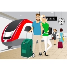 happy couple standing at the train station vector image