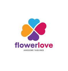 Heart color logo flower heart logo vector