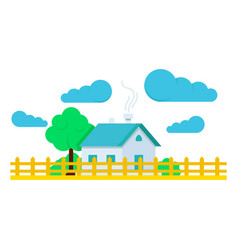 house with tree flat and clouds vector image