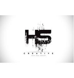 Hs h s grunge brush letter logo design in black vector