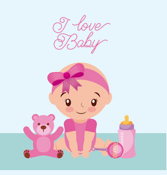 i love baby girl teddy rattler and bottle milk vector image