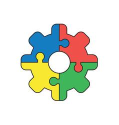 icon concept jigsaw puzzle pieces gear vector image
