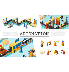 isometric automated factory elements set vector image