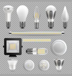 led light bulb set isolated vector image