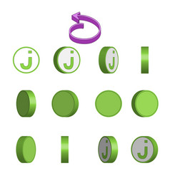 Letter j in circle rotation sequence sprite sheet vector