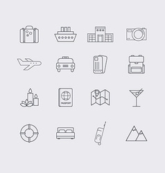 line icons set in flat design elements vacation vector image