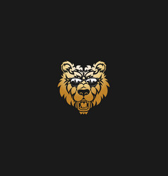 lion head on black background vector image