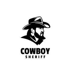 logo cowboy silhouette style vector image