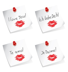 love you paper notes vector image