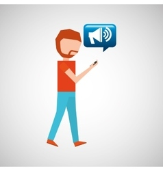 Man watching cellphone speaker vector