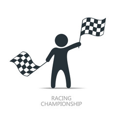 Man with checkered flag icon man holding flag vector