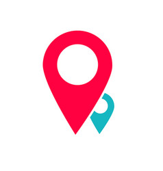 Map two pin pointers logotype sign flat vector