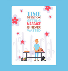 Massage salon typographic poster cartoon vector