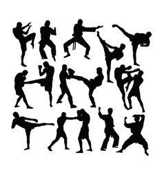material art sport silhouettes vector image