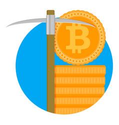 mining bitcoin symbol vector image