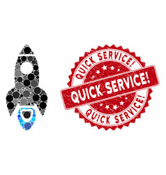 Mosaic space rocket with grunge quick service vector
