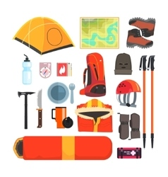 Mountain Camping Equipment Set vector image