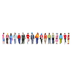 Multiethnic group of people banner vector