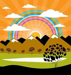 Nature background with mountains and sun with vector