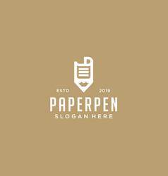 Paper pen logo design template vector