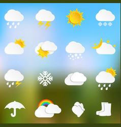 paper weather icons on blurred background vector image