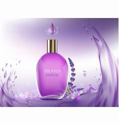 Perfume glass bottle the aroma of lavender flower vector