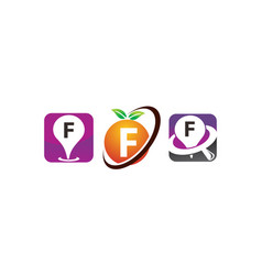 pin location fruit f template set vector image