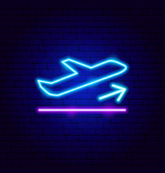 plane takeoff neon sign vector image