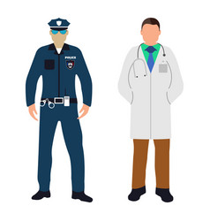 policeman and doctor cartoon icon service 911 vector image