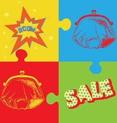 purse lichtenstein pop art vector image