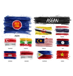 Realistic watercolor painting flag asean vector